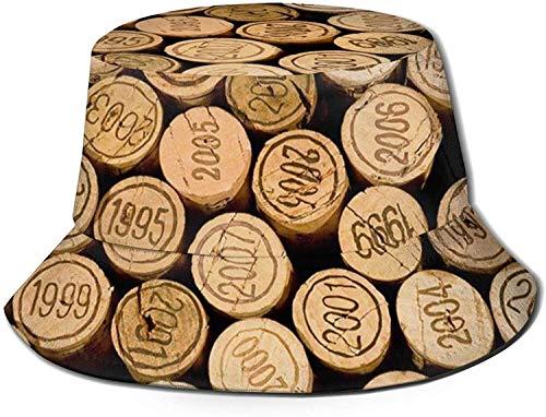 MODORSAN Tapón de Botella de Vino con Sombrero de Cubo con Estampado Vintage, Gorra de Pesca para Pescador, para Mujer, Viaje, Color Negro, Talla única