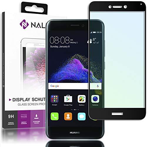 NALIA Cristal Templado Compatible con Huawei P8 Lite 2017, Vidrio Blindado Película Protectora Display Cobertura, 9H Protector de Pantalla Telefono Celular Tempered Glass, Color:Negro