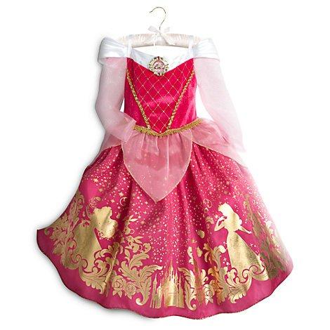 Costume bimbi Aurora, La Bella Addormentata, Dimensione bambini 5-6 anni, Costume da Principessa Disney ufficiale.
