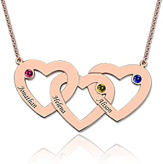 Sterling Silver Personalized Intertwined Hearts With Birthstones Name Necklace Custom Made Any Name Pendant Necklace