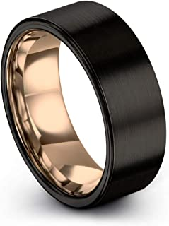 Stainless Steel Brown Plated Brushed Center 8mm Wedding Ring Band Size 10.00 Latest Technology Bridal & Wedding Party Jewelry