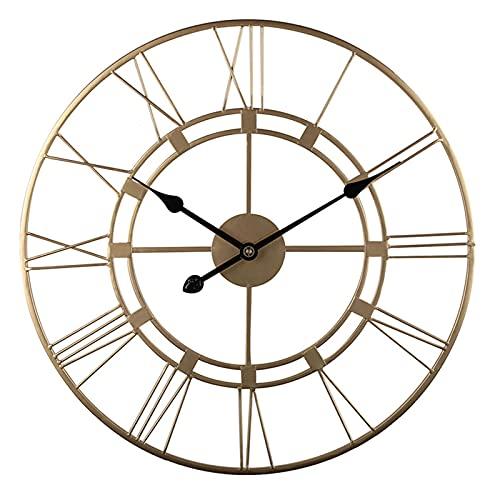 G-X Reloj de Pared Grande de 24 Pulgadas, Reloj de Pared de la Vendimia Industrial Europea con números Romanos, Reloj de Pared Decorativo de Metal con batería silenciosa de Interior,Oro
