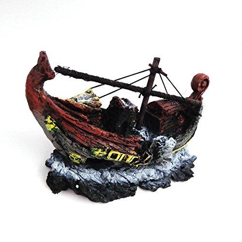 SRQLC Barco Pirata Decoración del Tanque de Pescados Paisajes del Acuario Escaparate de la casa Decoración Resina Hueca