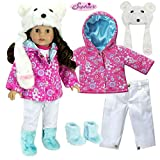 Sophia's 18 Inch Doll Winter Outfit Set w/ Polar Bear Hat, Floral Print Parka, Snowboard Pants & Aqua Fur Boots| Fits American Girl Dolls & More Doll Clothes Polar Bear Set | Doll Sold Separately