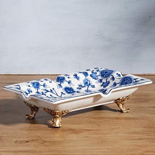 WSJF Posacenere China Blue E Bianco della Porcellana Posacenere Creativo Piccolo Piatto di Frutta Secca Candy Piatto di Frutta