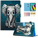 Dteck Case for Galaxy Tab S5e 10.5 2019 SM-T720/T725 - Slim PU Leather Multi-Angle Folio Stand Smart Cover with Card Holder for Samsung Galaxy Tab S5e 10.5 inch 2019 Release, Doctor Elephant