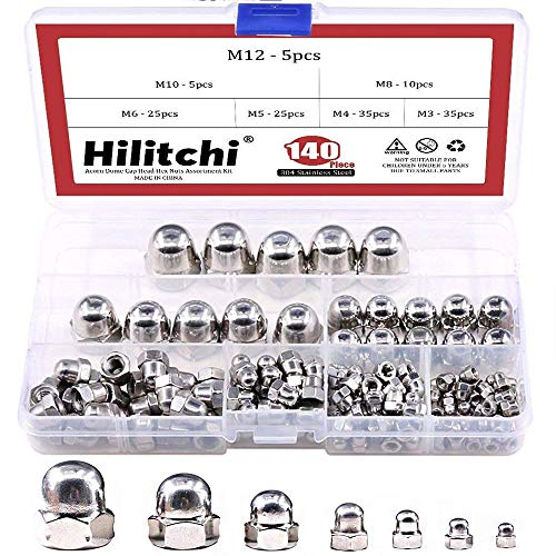 Hilitchi 140-Pcs M3 M4 M5 M6 M8 M10 M12 Acorn Dome Cap Head Hex Nuts Assortment Kit, 304Stainless Steel