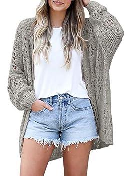 Mafulus Women s Crochet Cardigan Kimono Boho Long Sleeve Lightweight Soft Oversized Open Front Knitted Sweater Grey