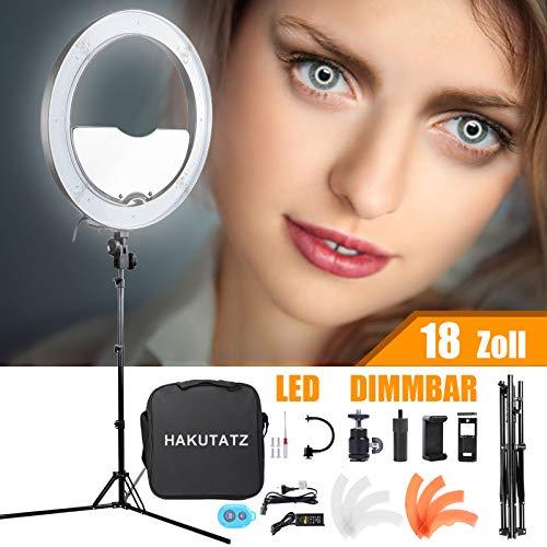 HAKUTATZ® Ringlicht 18 Zoll 48cm Dimmbare Led Ringleuchte 55W 3200K-5600K mit Stativ Spiegl LED Ringlicht Kit für Video und Fotoaufnahmen Make-up, Live Stream