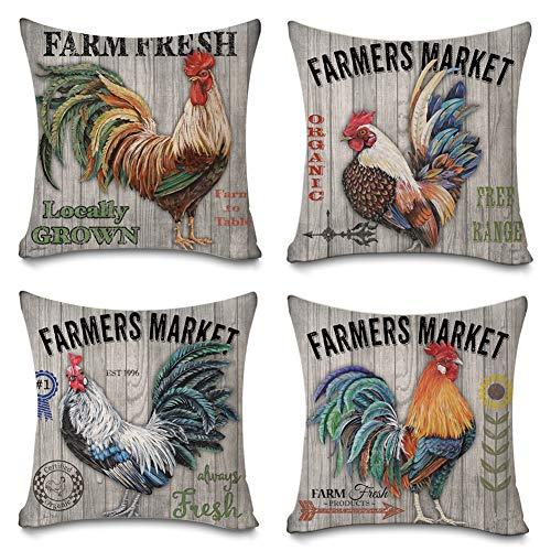 Decroitem Retro Vintage Wood Background Farm Fresh Farmhouse Poultry Chicken Throw Pillow Covers Cotton Linen Farmers Market Pillow Case Cushion Cover Farmhouse Decor 18' X 18' Set of 4