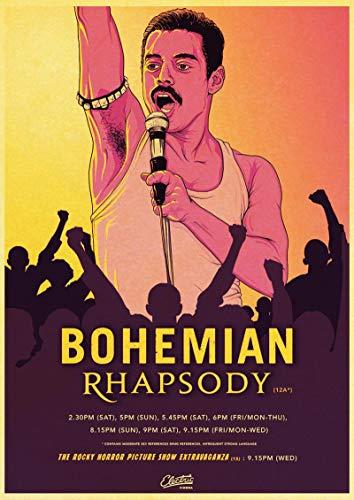 LGYJAL Bohemian Cinema Music Rhapsody Freddie Mercury Queen Póster de Estilo Retro Arte de la Pared Pintura en Lienzo Decoración para el Dormitorio del hogar 50x70 cm (19.68x27.55 in)