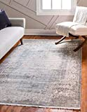 Unique Loom New Classical Collection Traditional Distressed Vintage Classic Light Blue Area Rug (9' 0 x 12' 0)