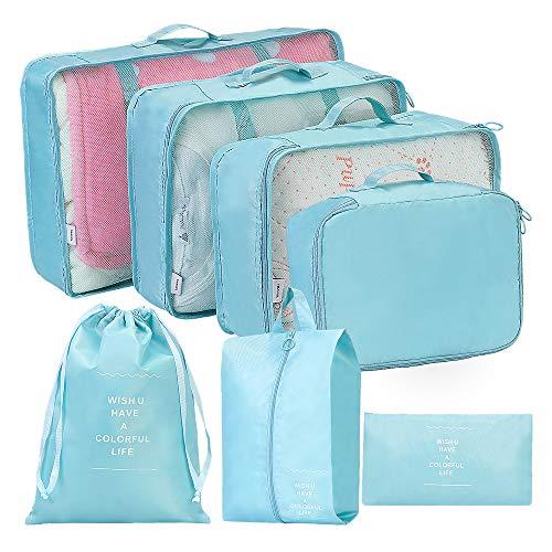 Packing Cubes, Kofferorganizer Set Reise Leicht, Kleidertaschen Packtaschen für Kleidung Schuhbeutel Unterwäsche Kabel Kosmetik Aufbewahrungstasche(Blau, 7-teilig)