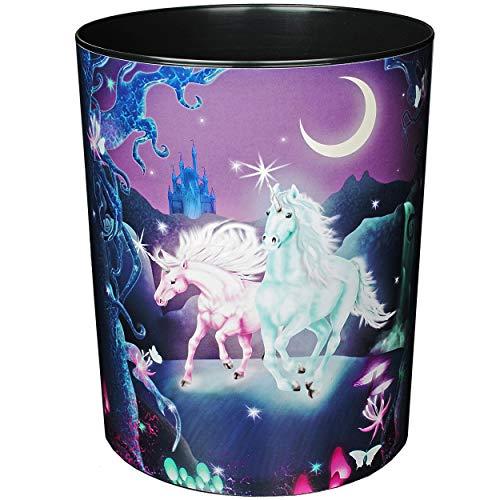 Papierkorb / Behälter - Einhorn - Unicorn - 12,5 Liter - wasserdicht - aus Kunststoff - 30 cm - großer Mülleimer / Eimer - Abfalleimer - Aufbewahrungsbox - Ab..