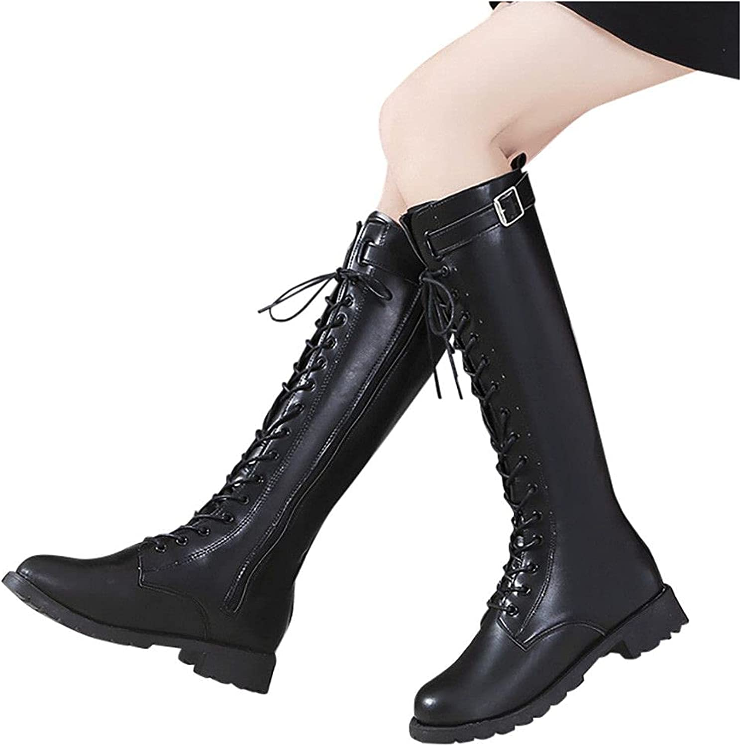 Boots for Women Fashion Winter Belt National products Buckle Hig Memphis Mall Color Pure Chunky