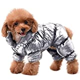AOFITEE Winter Dog Coat Warm Waterproof Puppy Down Jacket, Lightweight Outdoor Padded Pet Vest, Windproof Snowsuit Cold Weather Apparel Clothes for Small Dogs, Silver, 2XL