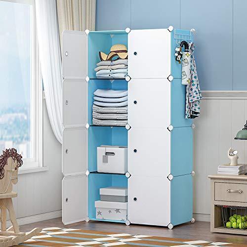 GEORGE&DANIS Portable Wardrobe Closet Dresser Armoire Plastic Storage Cube Organizer for Teenagers Kids Shelf, Blue, 14 inches Depth, 2x4 Tiers