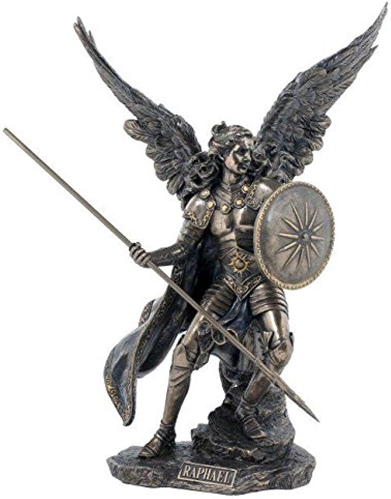 ars-bavaria, statua dell`arcangelo raffaele, con lancia e scudo, in bronzo 708-4697
