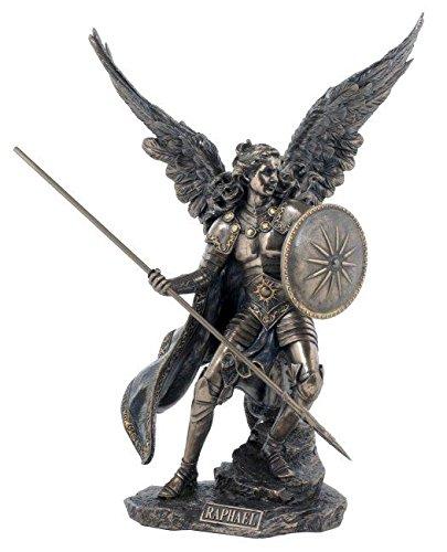 Ars-Bavaria Erzengel Raphael mit Speer und Schild Schutzengel Figur bronziert