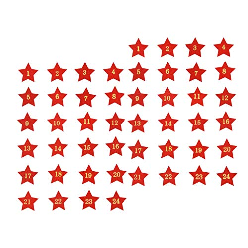 ULTNICE Lot de 48 étiquettes en bois pour calendrier de lAvent de Noël, 1 à 24 étoiles découpées en bois, tranches de table de Noël, copeaux de bois, fêtes de vacances, loisirs créatifs