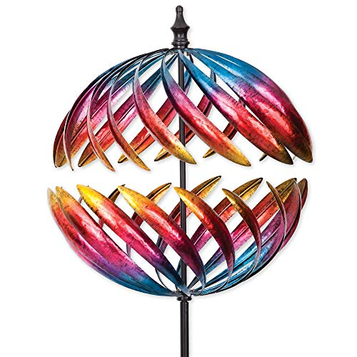 Bits and Pieces - Magnificent Jupiter Two-Way Giant 22 Inch Diameter Wind Spinner - Multicolor Kinetic Garden Windspinner - Decorative Lawn Ornament Wind Mill - Unique Outdoor Lawn and Garden Décor