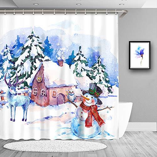 True Holiday Winter Duschvorhang, Wasserdichter Stoff dekorative Badezimmer Duschvorhänge mit 12 Vorhanghaken, 183 x 71 cm Schneemann-weiß