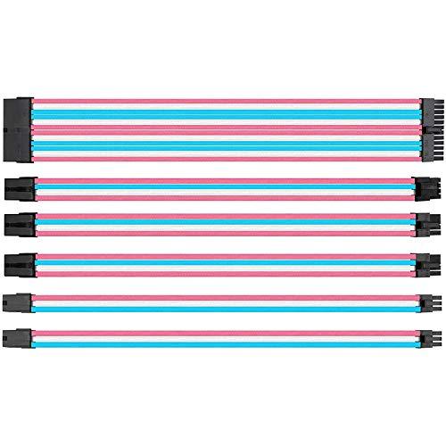 Cobeky Juego de 4 líneas de 300 mm de potencia del ordenador de la placa base de nailon trenzado cable de extensión de 24 pines 8 pines 6 pines 4+4 pines rosa, azul y blanco
