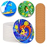 12 Pcs Ceramic Tiles for Crafts Coasters Unglazed Ceramic Coasters for Drinks with Cork Backing Pads,Use with Alcohol Ink or Acrylic Pouring,Make Your Own DIY Coaster