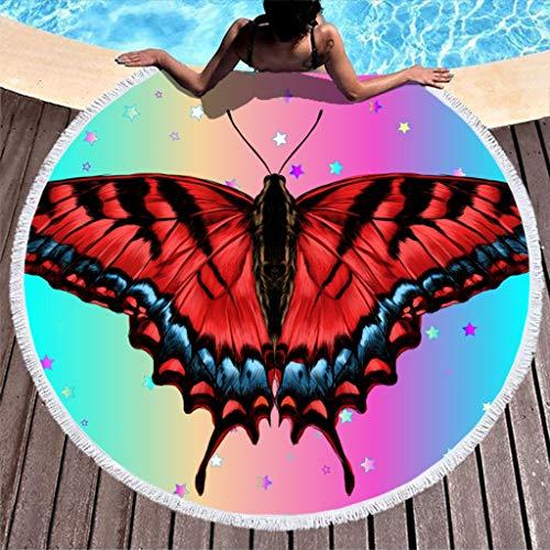 Lolyze Toalla de playa redonda con diseño de mariposas, absorbente, de microfibra, toalla de playa, toalla de baño, picnic, toalla de pared, esterilla de yoga, manta para deporte, color blanco, 150 cm