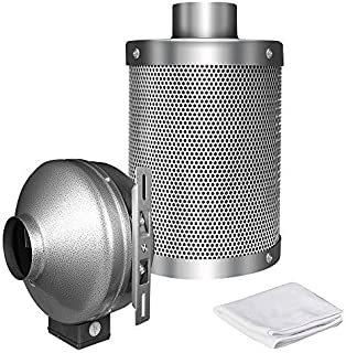 iPower GLFANXINL8FILT8M 750 CFM Duct Inline Fan with 8 Inch Carbon Grow Tent Ventilation System with Pre-Filter, 8