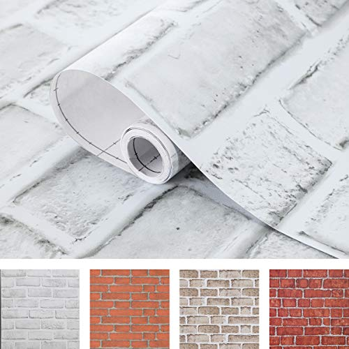 Coavas White-Gray-Brick-Wallpaper 17.7x118 Inch Decorative Self Adhesive Fireplace Wallpaper Easy to Stick and Peel Faux Brick Printed Waterproof Stick Paper