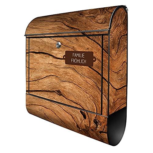 banjado® Design Briefkasten personalisiert Motiv Trockenes Holz 39x47x14cm & 2 Schlüssel - Briefkasten Stahl schwarz Zeitungsfach pulverbeschichtet - Postkasten A4 Einwurf inkl. Montagematerial