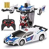 Niños RC de carga del transformador de control remoto de coches de juguete for niños, Regalo de cumpleaños del robot transformador eléctrico Un botón de demostración de control remoto de coches de Aut