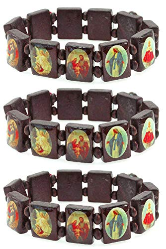 PURPLE WHALE Religious Wood Bracelet Set of Three with Pictures Icons of Jesus Mary and More