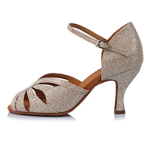 HROYL Zapatos de Baile para Mujeres y Niñas Latino de Diamantes de imitación Señoras Salsa Latina Tango Zapatos de Boda de satén,ESAF435024,Gold,40EU