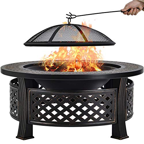 UNA Direct Metal Fire Pit with BBQ Grill, for Outdoor Garden Patio Heater Camping Bowl with Lid & Poker, Wood & Coal Burning, Black