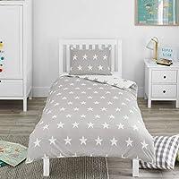 Bloomsbury Mill - Juego de cama para niño - Funda nórdica y funda de almohada 135cm x 200cm - Estampado de estrellas grises y blancas