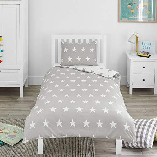 Bloomsbury Mill - Grey & White Stars - Kids Bedding Set - Single Duvet Cover and Pillowcase