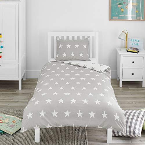 Bloomsbury Mill – Étoiles Grises et Blanches – Parure de Lit Pour Enfants – Housse de Couette 135cm x 200cm et Taie d'Oreiller Pour Lit Simple