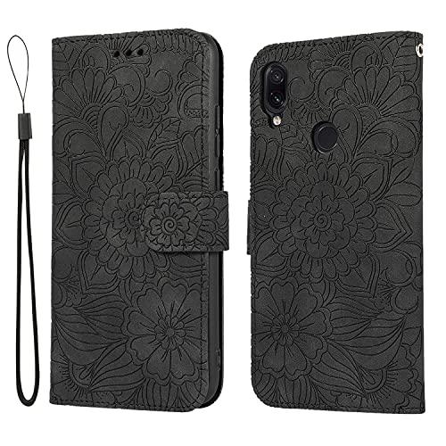 VQWQ Funda con Tapa para Xiaomi Redmi Note 7 - Embossed Flor Flip Case con Soporte y Tarjetero Piel Funda Magnético Billetera Plegable Cover para Xiaomi Redmi Note 7 [Flor] -Negro