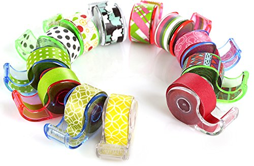 """Polar Bear Washi Masking Tape with Cute Dispenser, 0.47""""x5.5 Yards Each, Pack of 12pcs(Total 66 Yards), Assorted Colors,(WT-1255)"""