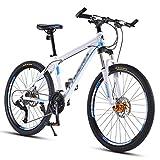 GEXIN Bicicleta de Montaña Todo Terreno de 30 Velocidades, Cuadro de Aleación de Aluminio, Freno de Disco Hidráulico, Horquilla de Suspensión Bloqueable