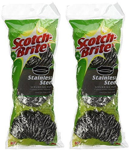 3m Scotch-Brite Stainless Steel Scouring Pad, 3-Pad(2 Pack) by Scotch