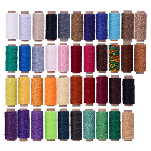 Lowest Price! 42 Colors Waxed Thread,2310 Yards Colorful Leather Thread,55Yards Per Color, Leather Sewing Thread,Hand Stitching Thread for Hand Sewing Leather and Bookbinding Leather Craft DIY/Bookbinding
