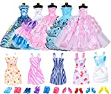 Clothes and Accessories YUESEN 20 Clothes Accessories for Dolls=5 Long Skirts+5 Short Skirts+10 Pairs of Shoes,Party Gown Skirt Costume Accessories Random for Doll Dress 11.5 inch