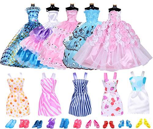 Accesorios de Ropa YUESEN 20 Piezas Accesorios para Muñecas Dolls 5 Piezas de Vestido de Moda Faldas Largas + 5 Piezas de Faldas Cortas Casuales+10 Pares de Zapatos(Estilo Aleatorio)