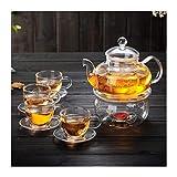 HongLianRiven Glasteekanne Glas-Teekanne, Tee-Set, Satz verdickter Teekanne, Tasse mit Untertasse,...