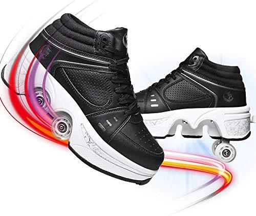 EXPERIENCE Zapatos Deformados Patines De Ruedas En Línea para Niños Zapatos De Patinaje sobre Ruedas con 4 Neumáticos Extraíbles Fuerte Seguridad Antideslizante Y Resistente Al Desgaste