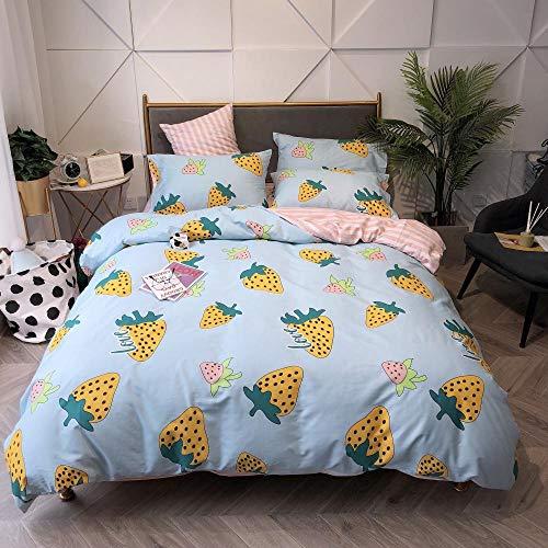 chuanglanja Bedding Double Bed 1.8m bed katoen vierdelig pak zachte huidvriendelijke aardbei geel licht blauw