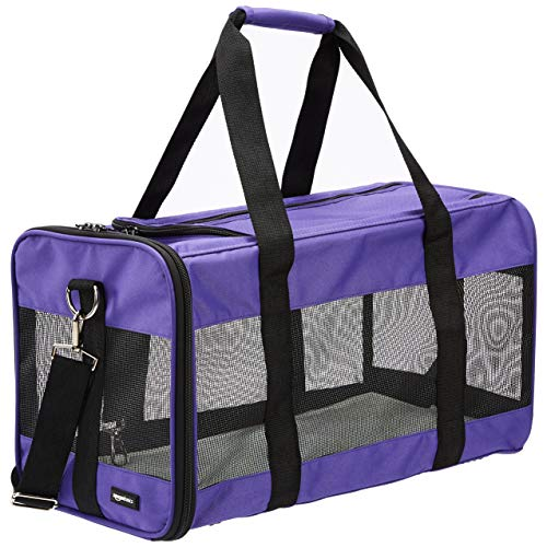 AmazonBasics Soft-Sided Pet Travel Carrier - Purple, Large Carriers Soft-Sided